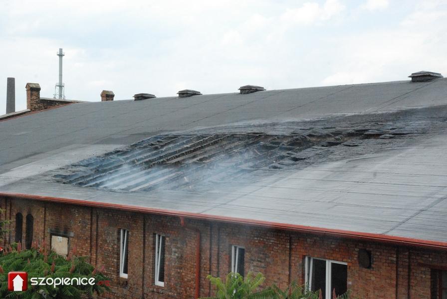 Pożar w walcowni cynku. Spłonął fragment dachu nad pomieszczeniami sanitarnymi
