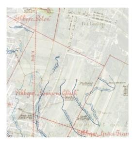 """Pola górnicze kopalń """"Luisensglück"""" i """"Guter Traugott"""" na mapie z początków XX wieku"""